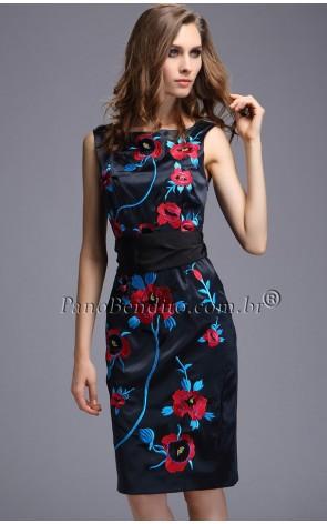 Vestido Floral Tubinho com Broderie Exclusivity