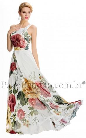 Vestido Longo Flores de Vienna