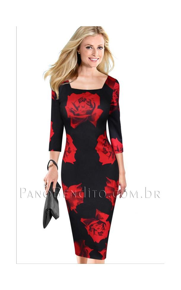 Vestido Tubinho com Estampa de Rosas Macedônia