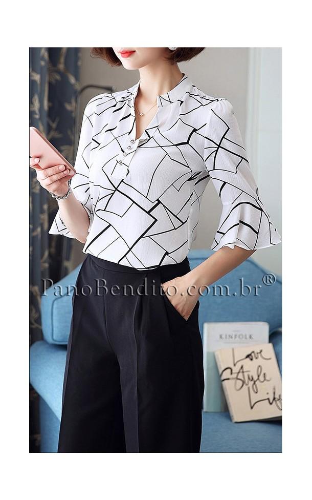 Blusa Social Estampa Geométrica Pippa Middleton