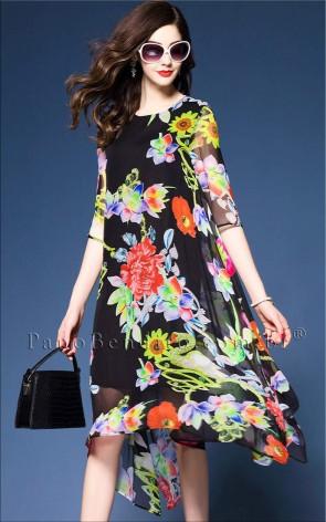 Vestido Estampa Flores Assimétrico Istanbul