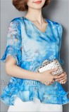 Blusa Floral com Babados Catherine II