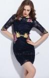 Vestido Midi de Renda e Bordado Floral Adele