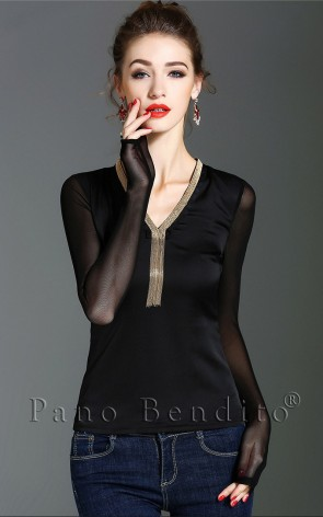 Blusa Social Organza Its Raining Gold