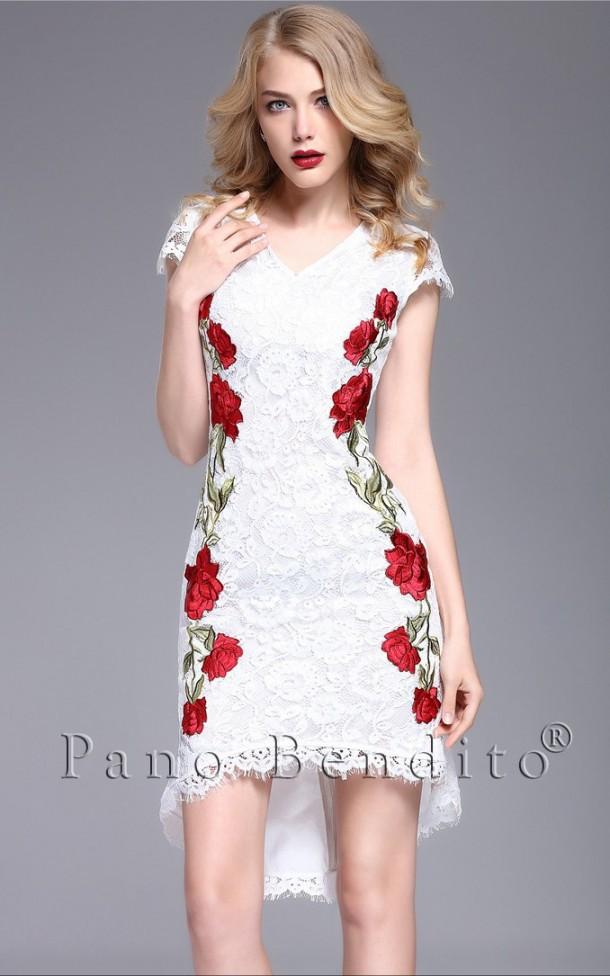 Vestido Mullet Renda e Bordado de Rosas Sicília
