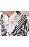 Camisa com Bordado Branco e Linhas Geométricas Deboch