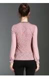Blusa de Renda Textura Floral com Bijus Elisèje