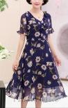 Vestido Longuete Floral com Babados Saint Lopez