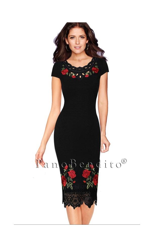 Vestido Médio Bordado de Rosas Saint Lewis