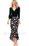 Saia Mullet com Babados Estampa Floral Kim Kardashian