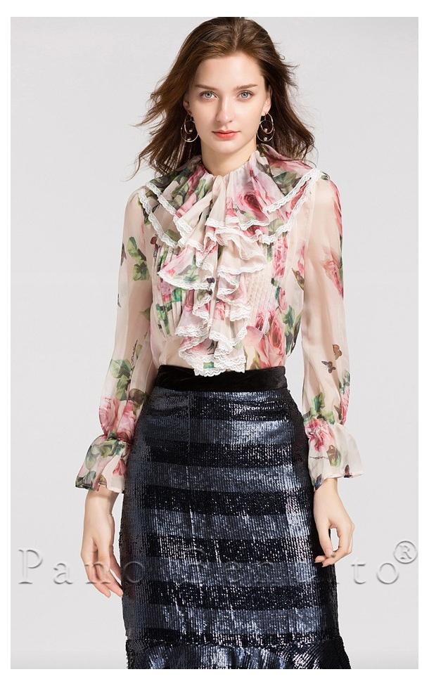 Blusa Floral Renda e Babados Versailles